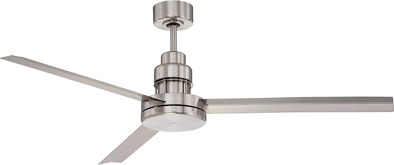 Craftmade MND54BNK3 Mondo Outdoor Metal Blade Ceiling Fan with Remote 54 Industrial Fan for Patio, Brushed Nickel