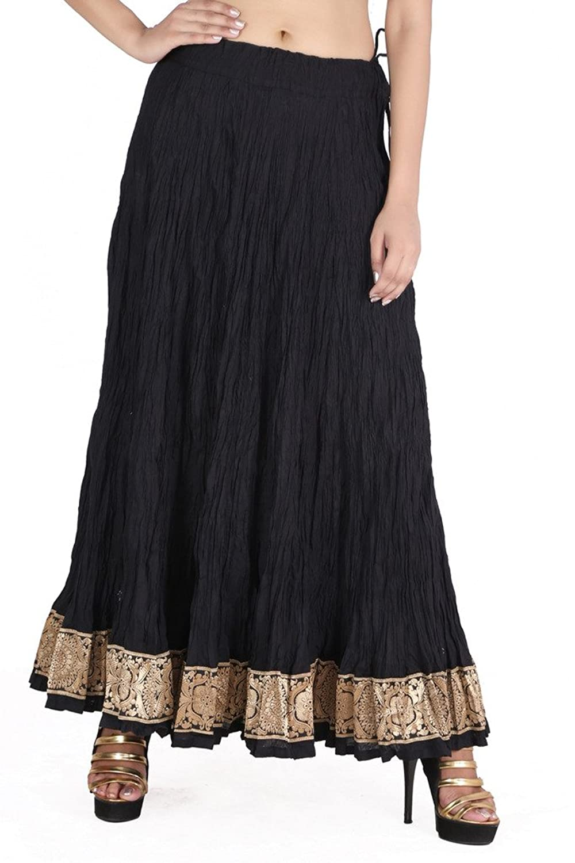 Jaipur kala kendra Ethnic Bollywood Style Designer Plain Black Skirt With Printed Boarder JKKCSB1