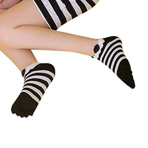 Invisible Cotton Sock Women Fashion Five Toe Finger Socks Stripe Black Red Navy Cute Socks calcetines