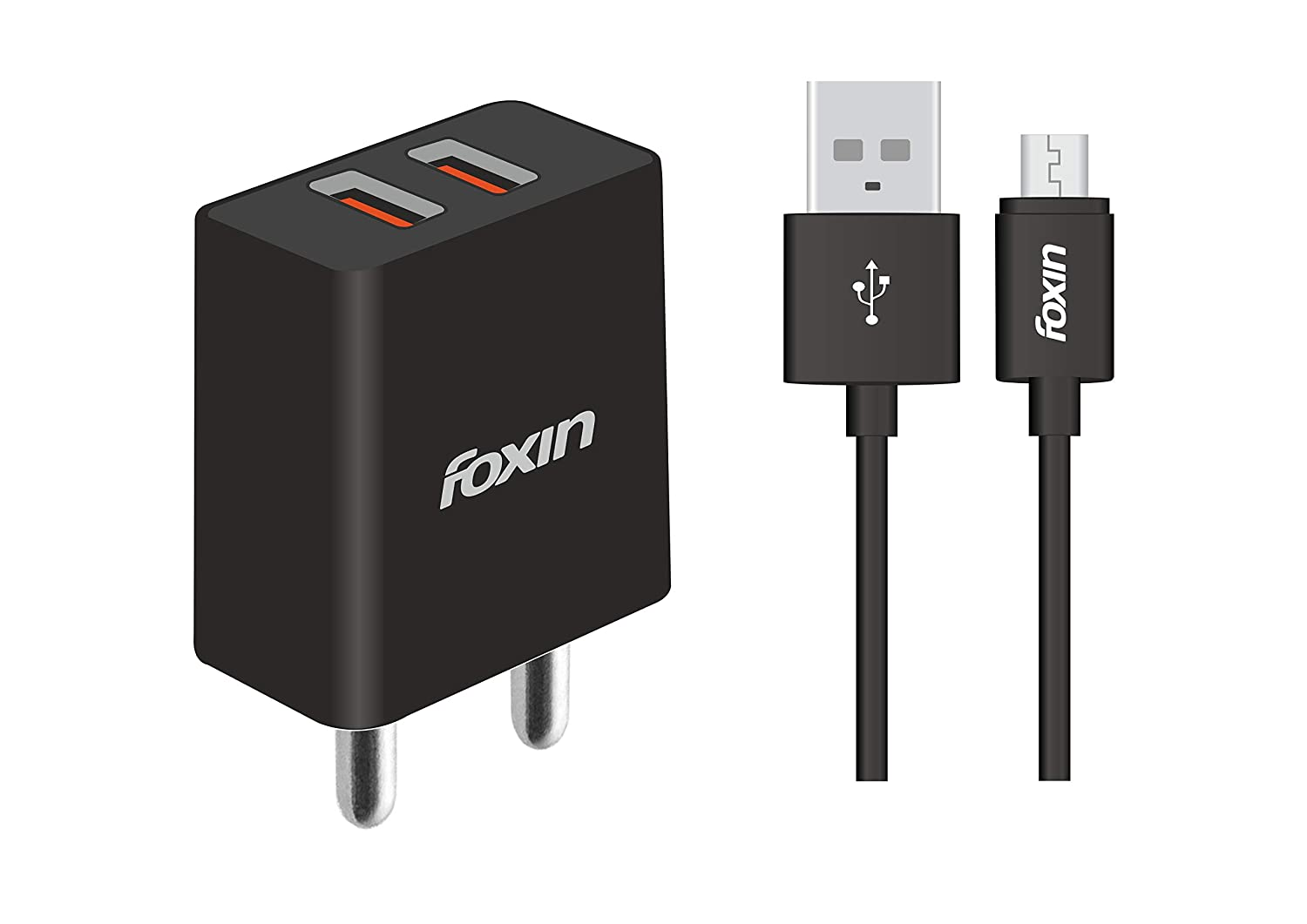 Foxin FPA-226 Dual Port USB Smart Adapter with 2.4 Amp Power Supply (Black)