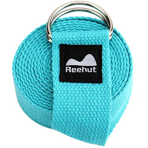 8' Pull Handle (Reehut Fitness Exercise Yoga Strap (6ft) w/ Adjustable D-Ring Buckle for Stretching, Flexibility and Physical Therapy (Sky Blue))