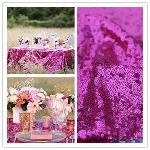 QueenDream Sequin Tablecloth Fuchsia 90