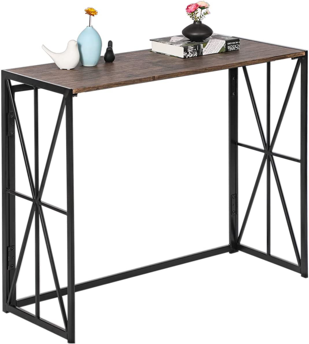 Console Sofa Table Folding Tall Wall Table for Entryway No-Assembly Living Room TV Entrance Table Kitchen Bar Table Industrial Home Office Computer Desk with Metal X-Frame, Rustic Brown Utility Tables