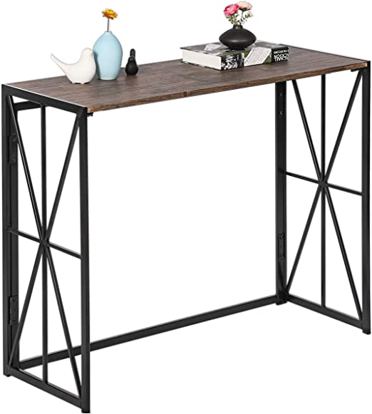 Folding-Console Table, No-Assembly Tall Sofa Entryway Table, 8 Seconds Finish Installation Industrial Hallway Wall Table with Sturdy Metal X-Design ...