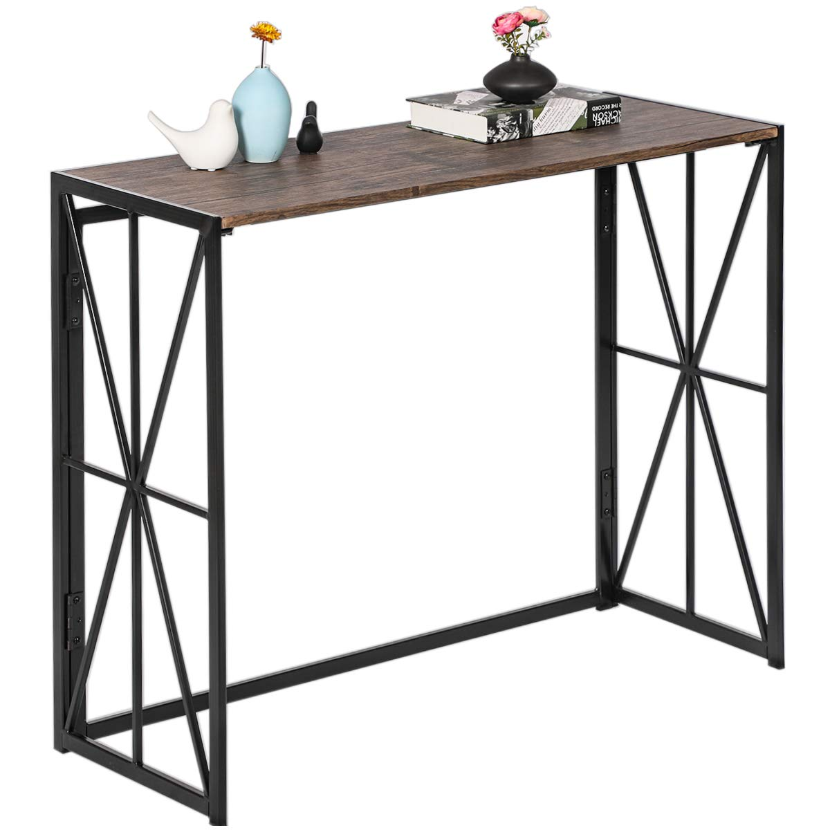 Folding-Console Table, No-Assembly Tall Sofa Entryway Table, 8 Seconds Finish Installation Industrial Hallway Wall Table with Sturdy Metal X-Design HORES/BS, Rustic Brown