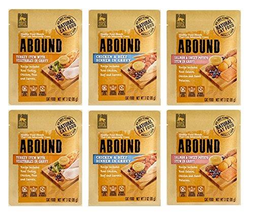 Abound Grain Free Natural Wet Cat Kitten Food Pouches - 3 Flavor 6 Pouch Bundle - Plus Denta-Net Treat Pocket- (7 Items Total) by Abound