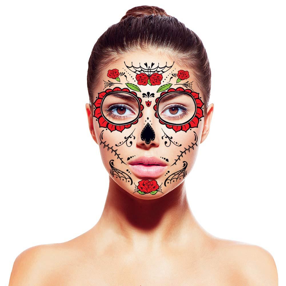 Amytech [4 Pack] Día De Muertos Cara Tatuajes Temporales Glitter ...