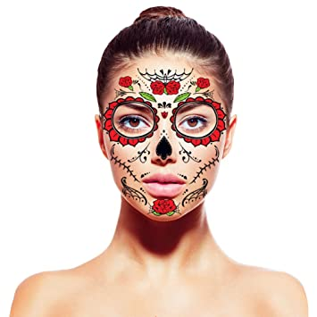 Amazoncom Halloween Face Stickers Tattoo Day Of The Dead