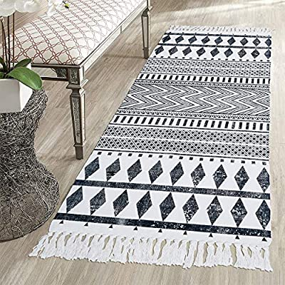 HEBE Boho Cotton Rug Runner, Cotton Throw Rug 2.3'x6', Woven Rug Kitchen Rug, Fringe Tassel Rug for Kitchen Laundry… - Area Rug Runner Size: Package includes 1 PCS long cotton woven tassels rug runner.Cotton runner rug measure size at 2.3'x6' ft/70*180cm.The size is perfectly suitable for kitchen floor,laundry room,living room,entrance way,doormat . Accent Cotton Rug: Woven cotton throw rugs runner well made by Natural Cotton.Cotton material makes excellent water absorption.It's safe for the environment, give soft and breathable touch when people walk on them. Printed Tassel Bohemian Area Rug: A perfect rag rug with geometric patterns and extra snazzy knotted fringe tassels on each side which make them seem chic.Cotton throw rug floor mat carpet with black and cream white color will make it never go out of style and long time stay on the floor. - runner-rugs, entryway-furniture-decor, entryway-laundry-room - 61kq5slWhYL. SS400  -