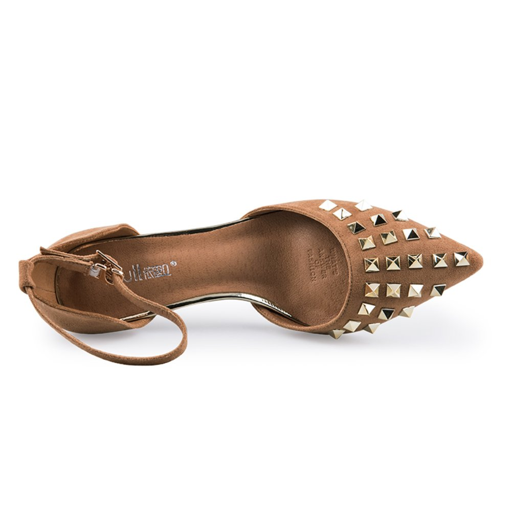 MET RXL Spring Rivet Shoes//Pure Color Light-Mouth Shoes//Stiletto Thin Shoes//Womens Pointy Shoes