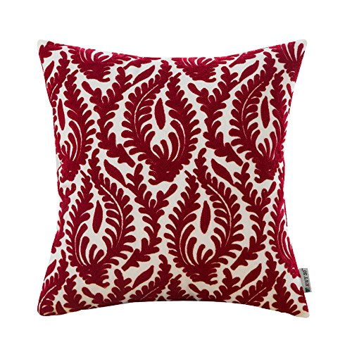 dered Christmas Decorative Throw Pillow Covers Cushion Cases for Couch Sofa Bed Bedroom European Wine Red Abstract Branches Burgundy 18 x 18 inch 45 x 45 cm,1 Piece ()