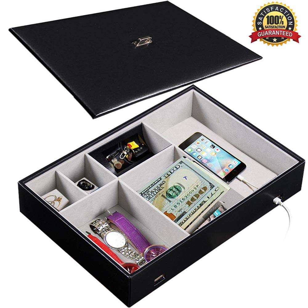 JuguHoovi Valet Tray Dresser Organizer with Lid for Men and Women, 6 Slot Valet Tray Leather Black Nightstand Organizer Jewelry Accessories Box for Keys Phone Wallet Coin Jewelry