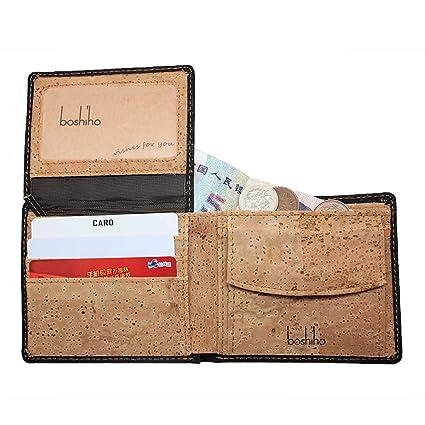 Boshiho RFID Billetera de Corcho con Bloqueo, Delgada ...