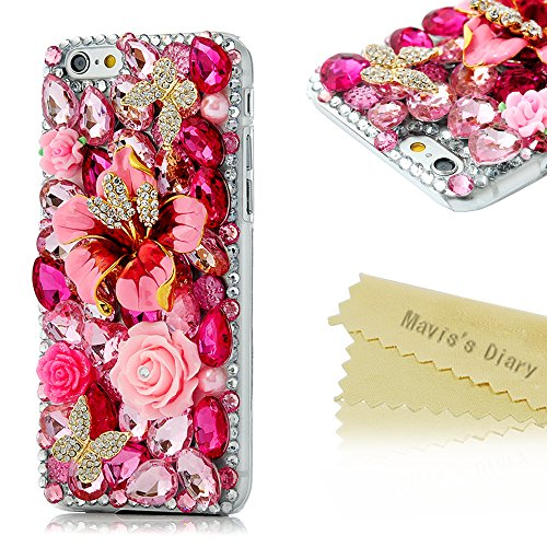 iPhone 6 Case,iPhone 6S Case, Mavis's Diary 3D Handmade Crystal Butterfly Flowers Rhinestone Diamond with Clear Hard Case Cover for iPhone 6 6S(4.7) …