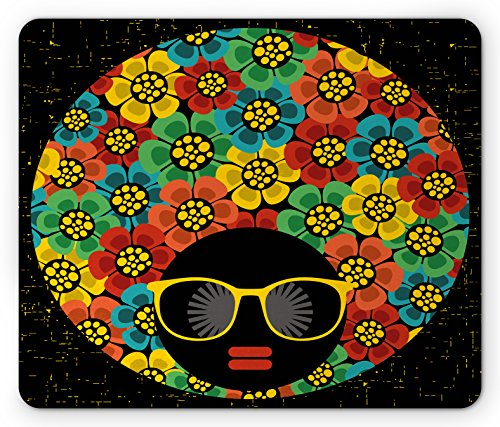 Hairstyles 1970s (70s Party Mouse Pad by Ambesonne, Abstract Woman Portrait Hair Style with Colorful Flowers Sunglasses Lips Graphic, Standard Size Rectangle Non-Slip Rubber Mousepad, Multicolor)