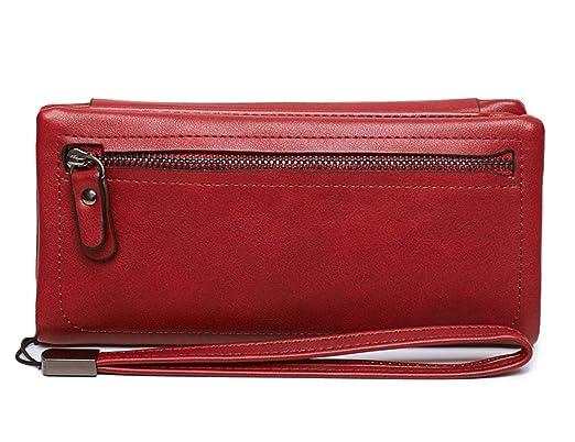 0d65a1346fe2f ALAIX Damen Leder Geldbeutel Reißverschluss RFID Schutz Geldbörse  Portemonnaie Kartenhüllen Portemonnaie mit Armband Rot  Amazon.de   Bekleidung