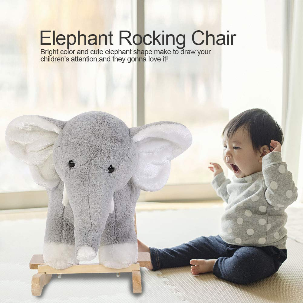 Baby Rocking Chairs Elephant Animal Plush Rocker Horse Toy Solid Wooden Swing with Backrest Children Kids for Boy Girls 1-3 Year Cute Toddler Nursery Gift