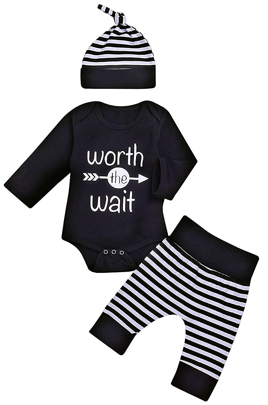 Unisex Worth The Wait Newborn Outfit Baby Boy Girl Set Long Sleeve Romper T-Shirt Toddler T Shirt Clothes