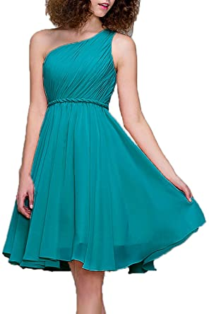99Gown Bridesmaid Dresses Short Cocktail Dress One Shoulder Prom Formal Dresses For Women, Color Turquoise
