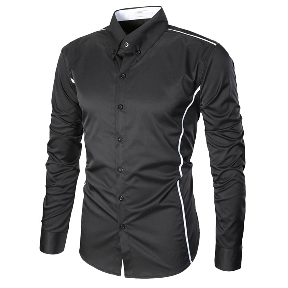 Zhuhaitf Mens Summer Long Sleeve Holiday Workwear School Button Cotton Shirt Top