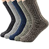 5 Pairs Womens Winter Socks Vintage Soft Cozy Warm Thick Knit Wool Crew Socks for Boots 5 Pairs Solid Color