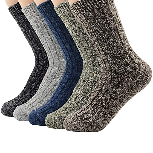 (5 Pairs Womens Winter Socks Vintage Soft Cozy Warm Thick Knit Wool Crew Socks for Boots 5 Pairs Solid Color)