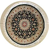 Rugstc 3'0 x 3'0 Pak Persian Area Rug with Silk & Wool Pile - Floral Design | 100% Original Hand-Knotted in Green,Beige,Grey Colors | a 3x3 Round Double Knot Rug