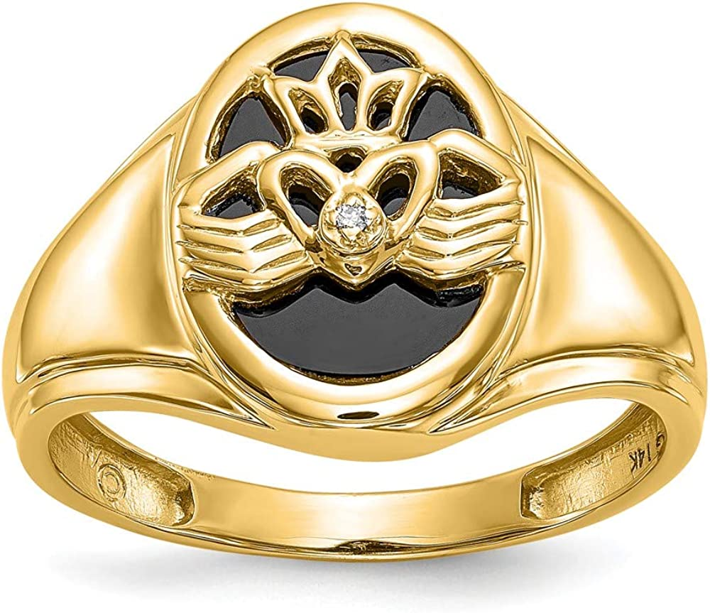 I1 clarity, G-I color Jewelry Adviser Rings 14k Mens Onyx /& Diamond Ring Diamond quality AA