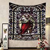 Gzhihine Custom tapestry Sacred Heart of Jesus Pictures for Living Room Decoration Catholic Gifts Believe Art Christian Wall Decor Church Cathedral View Silky Satin Tapestry Red Black White Blue