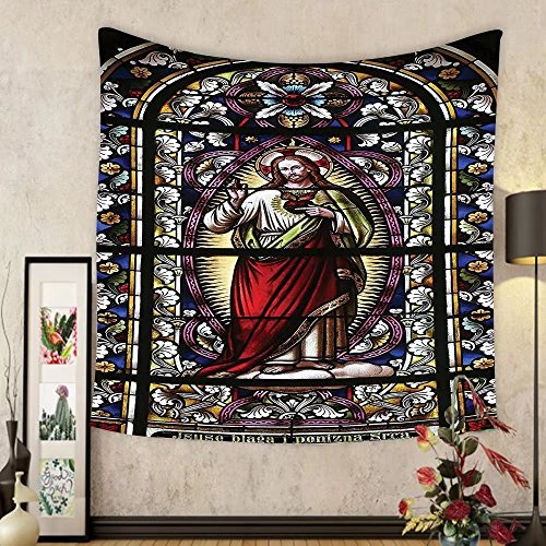 Gzhihine Custom tapestry Sacred Heart of Jesus Pictures for Living Room Decoration Catholic Gifts Believe Art Christian Wall Decor Church Cathedral View Silky Satin Tapestry Red Black White Blue by Gzhihine