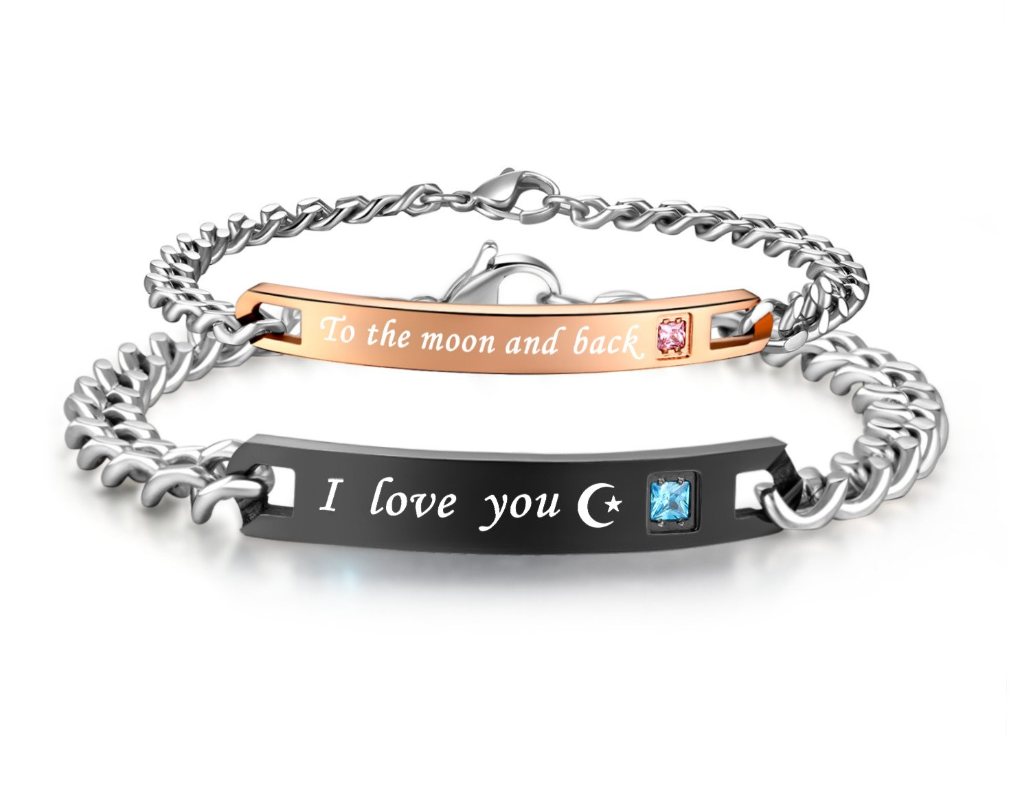 His & Hers Matching Set Stainless Steel I Love You to the Moon and Back Couple Bracelet in a Gift Box (A PAIR)