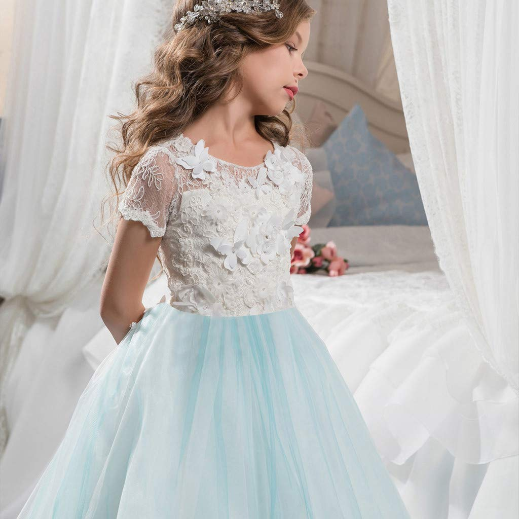 SUNBIBE Kids Clothes Baby Girls Flower Tutu Lace Princess Dress for Wedding Party Toddler Girl Children Clothing
