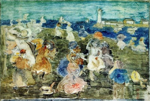 Beach Scene Lighthouse - Maurice Prendergast Beach Scene with Lighthouse (also known as Children at the Seashore) - 18.05