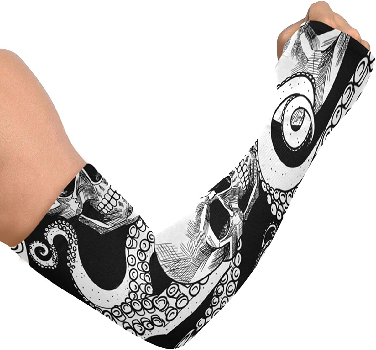 Cooling Arm Sleeves Anti-Slip Skull And Tentacles Of The Octopus Arm Cover Sleeves for Men Women Youth
