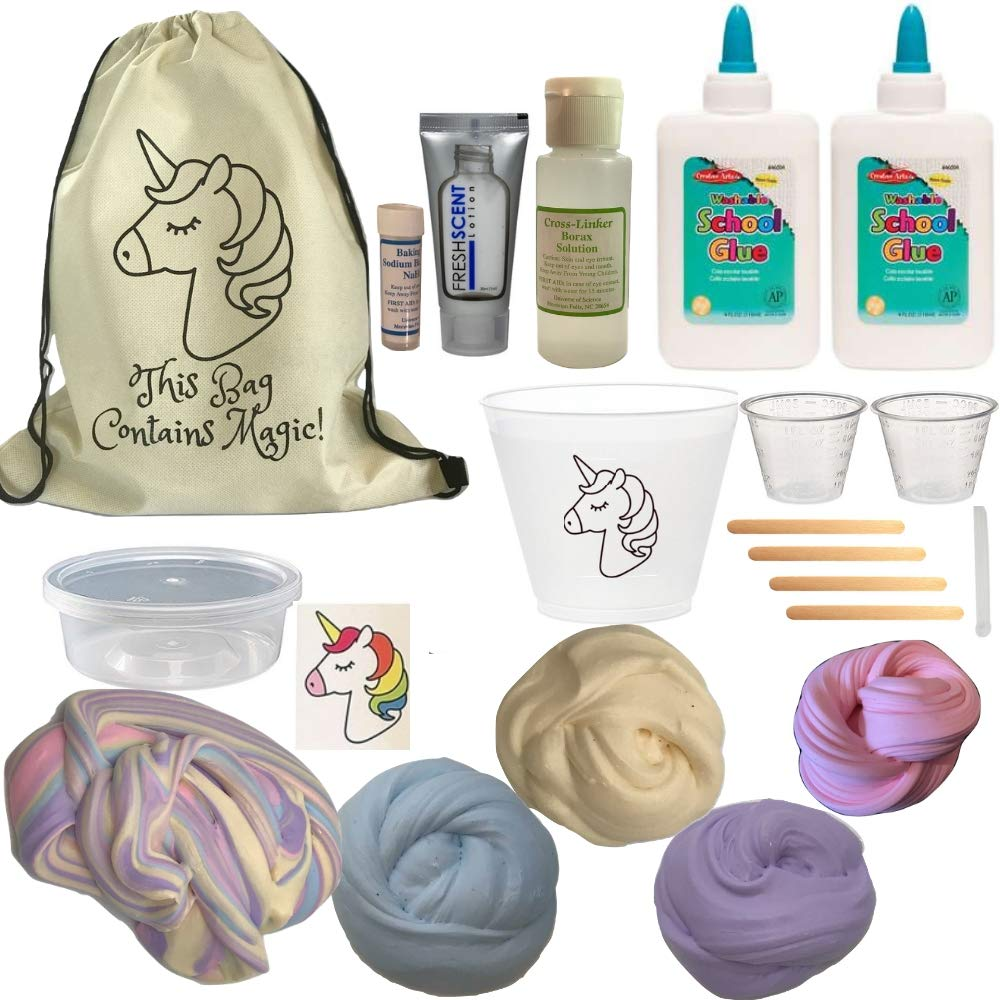 Unicorn Slime Kit DIY -Make Rainbow Fluffy Butter Slime. Great Party Idea. with 4 Color Clay, Lotion, Activator, Sticker and All The Supplies!
