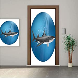 Sea Animal Decor ONE Piece Door Stickers,Shark in Sea with Sun Rays in Circle Aquatic Underwater Creature Home Decor 24x63 Peel & Stick Removable Wall Mural,Decal,Poster for Door/Wall/Fridge Home Dec