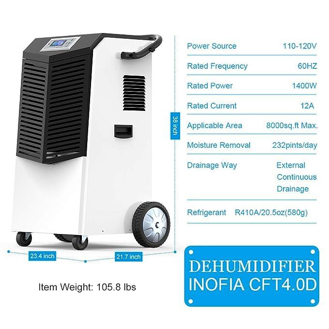 Amazon Inofia Dehumidifier 232 Pints 29 Gallons