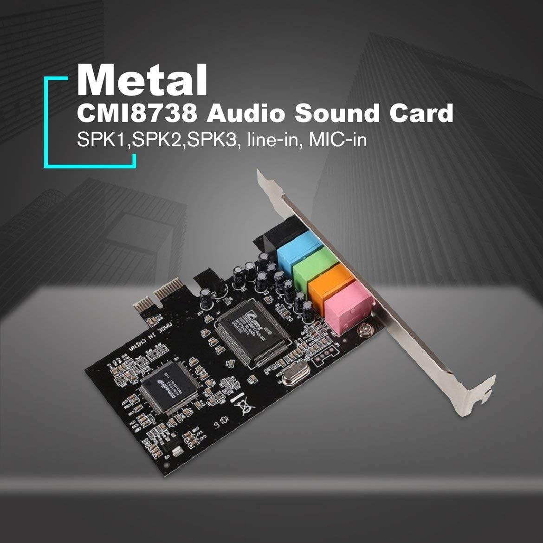 Mehrfarbig ngzhongtu PCI-E Express 5.1-Kanal-Soundkarte CMI8738 Single Bare Card Audio-Soundkarte mit CD PCI-E-Audio-Karte PCI Express-Adapter