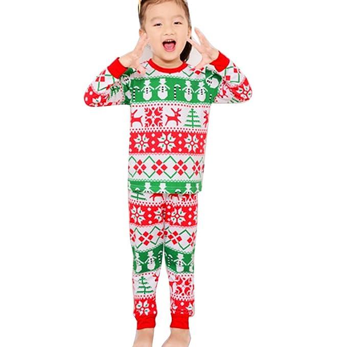 Pijamas de Navidad de niños niñas, Meedot 2 piezas de algodón ropa de dormir de