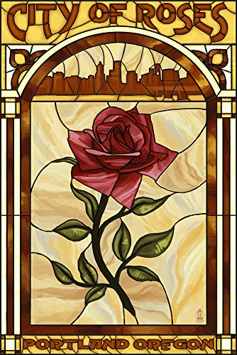 Portland, Oregon - Rose and Skyline Stained Glass (9x12 Art Print, Wall Decor Travel Poster)