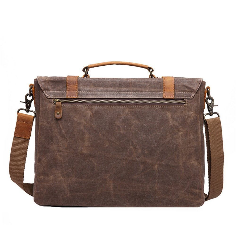 Mens Messenger Bag Simple Retro Zipper Canvas 14 Inch Computer Bag Briefcase Shoulder Bag Messenger Bag Color Brown