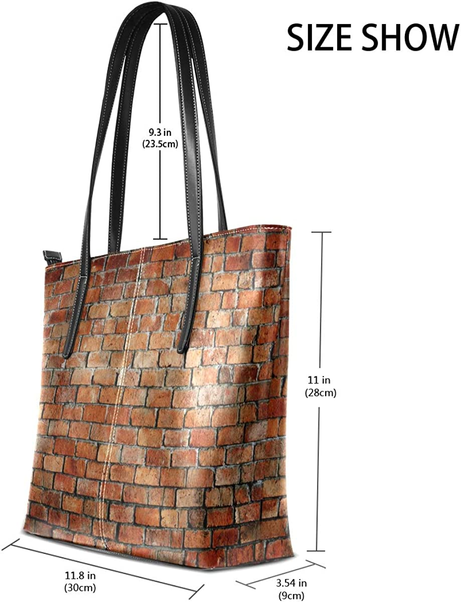 Red Brick Wall Texture Leisure Fashion PU Leather Handbag for Women Large Tote Bag Shoulder Bag for Gym Beach Travel Daily Bags