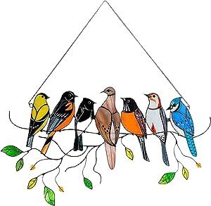 Multicolor Birds On-A-Wire, Metal Suncatcher Window Panel, Bird Series Art Ornaments Pendant Hanging for Windows or Doors Home Decoration, Gifts for Bird Lovers (7 Birds)
