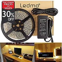 LEDMO Flexible LED Light Strip Kit, Super Bright 300 Uints SMD5630 LEDs,IP65 Waterproof,Warm White 4000K,16.4Ft/5M,LED Strip Light + 12V/5A Power Supply