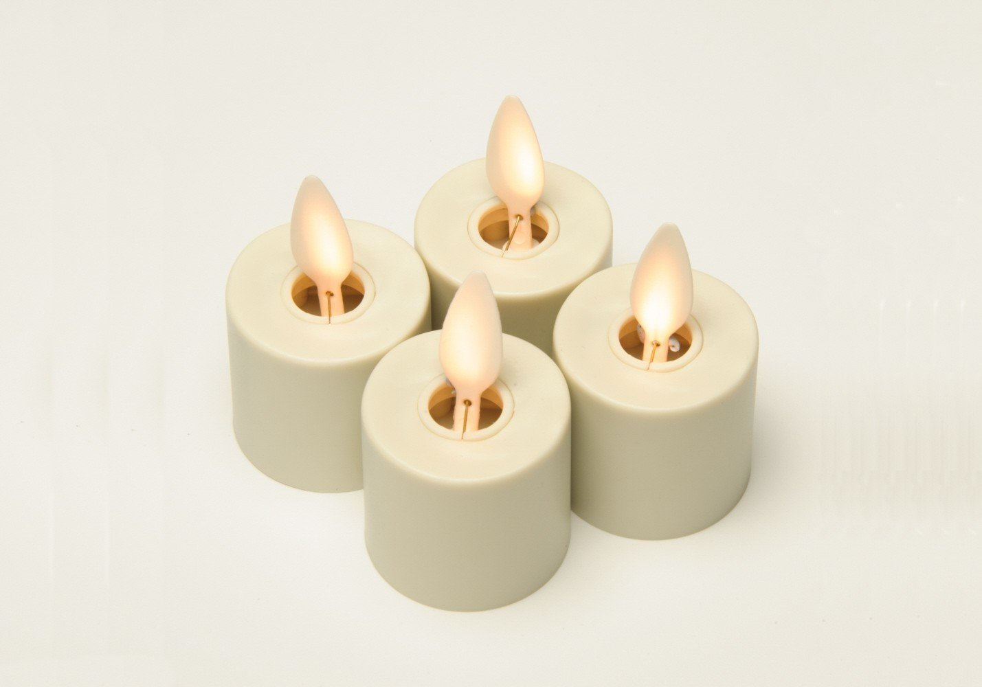 6 Set Ivory Luminara Flameless Candles with Antique Bronze Recharging Base with Timer Remote Included by Luminara