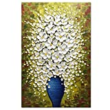 Asdam Art-(100% Handmade 3D White Flower in Blue Vase Modern Art Abstract Oil Paintings On Canvas Vertical Wall Art For Bedroom Living Room Wall Decor(24x36inch)