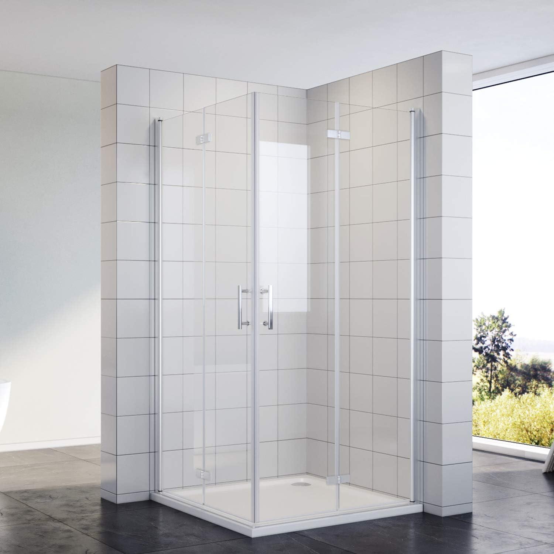 Ducha cabina de ducha puerta plegable Mampara 80 x 80 esquina isntieg Puerta de ducha esquina ducha ducha pared de cristal de seguridad: Amazon.es: Bricolaje y herramientas