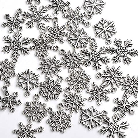 Good2deal 30x Mixed Tibetan Silver Various Snowflake Charm Beads Winter Xmas Finding - Beads And Findings