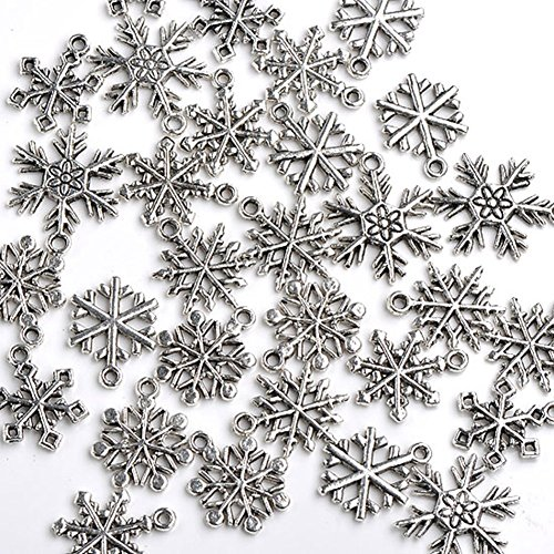 Good2deal 30x Mixed Tibetan Silver Various Snowflake Charm Beads Winter Xmas Finding