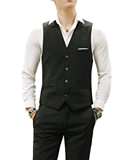 Amazon.com: 3 pcs chaleco + corbata + pañuelo amarillo moda ...